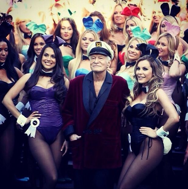 Playboy bunnies with Hue Hefner