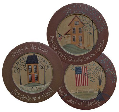 Plate and Stand Set - Primitive Happy Houses with Inspirational Messages - Country Rustic Wood Plates  sc 1 st  Pinterest & The 10 best Painted Prim Plates images on Pinterest | Primitive ...