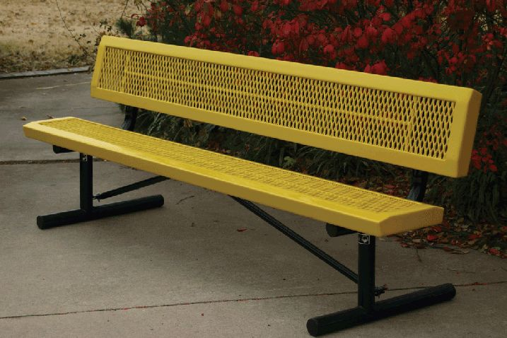 Commercial Metal Park Bench Sale - - VMWCB15WBINFP: 15Ft. Bench with Back, Portable