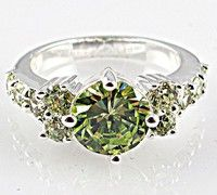 Wish | Fashion Jewelry 1PC 925 Sterling Silver Round Cut Peridot Finger Ring US SIZE 6 7 8 9 10