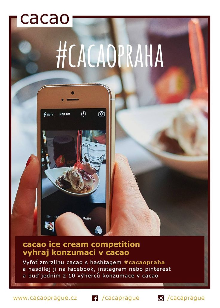 Vyfoťte zmrzlinu v cacao s hashtagem #cacaopraha a nasdílej ji na instagramu, facebooku nebo pinterest a buď jedním z 10 výherců konzumace v cacao
