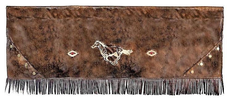 Faux Leather Valance - Western Valance w/ Fringe
