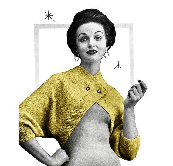 Vintage Knitting Pattern 1950s Cross Over Bolero Shrug Digital Download PDF