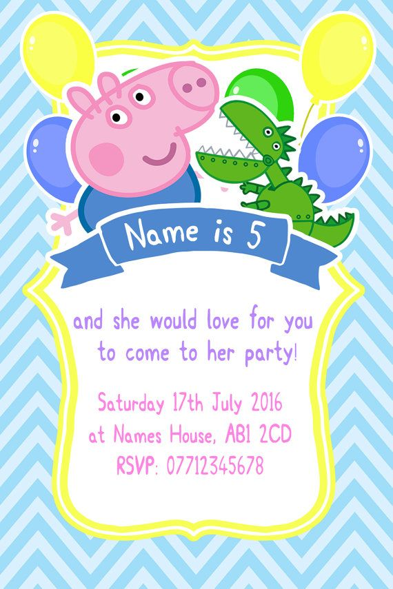 584 best peppa pig party images on pinterest pig party pig personnalis george peppa pig party invitations et enveloppes stopboris Image collections
