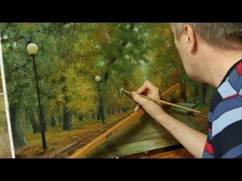 Работа над картиной Осень в парке. Process of creating oil painting from Oleg Buiko. - YouTube