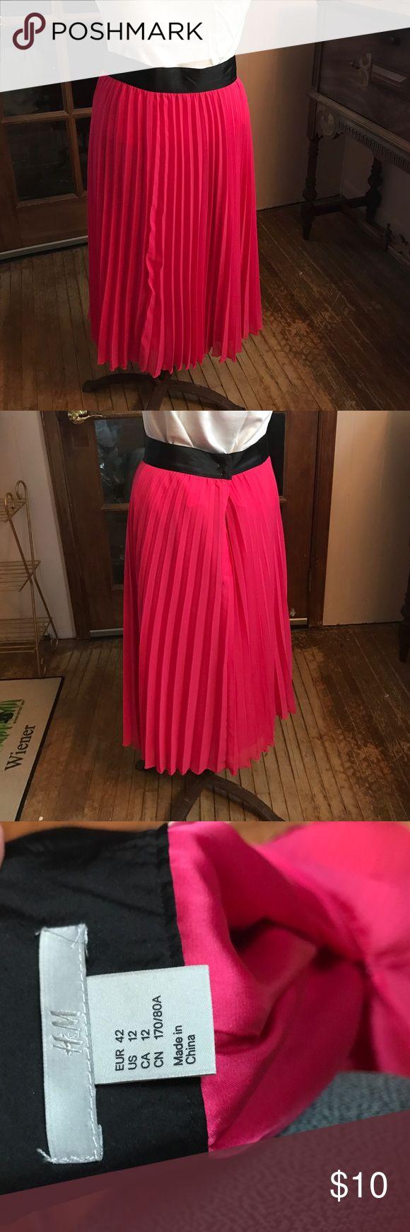 Pleated HM midi skirt Very pretty hot pink HM pleated skirt. Has some oil spots on front that I will try to remove before sale. 100% polyester; machine wash cold H&M Skirts Midi