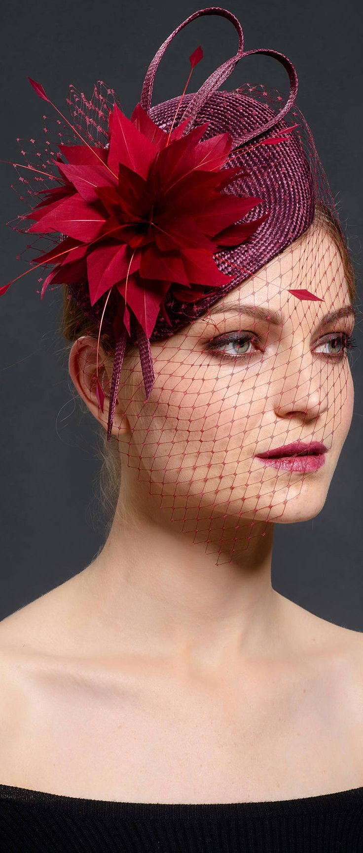 Port Cranberry and Bright Red Starburst Beret Fascinator Hat. Mother of the  bride 72ff42d0977
