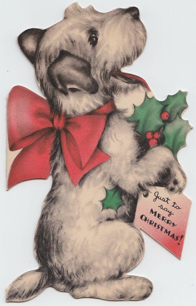 Vintage Greeting Card Christmas Terrier Dog Die Cut Hall Bros Hallmark 1937 e156