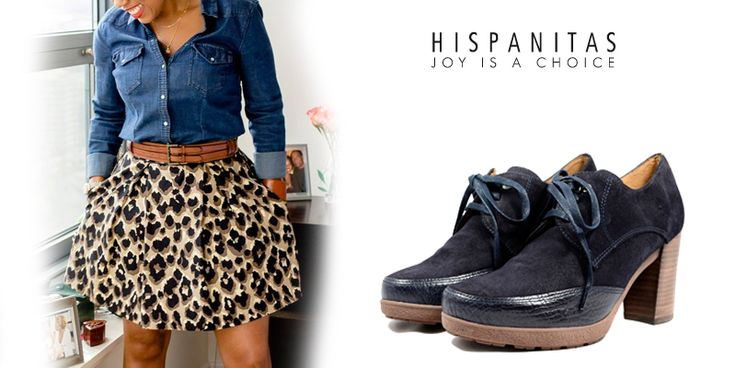 Pentru o tinuta sigura poti asorta pantofii albastrii cu elemente de culoare neagra, dar pentru un outfit remarcabil asociaza o camasa de jeans cu o fusta animal-print si sigur vei fi remarcata. - blue shoes outfit -