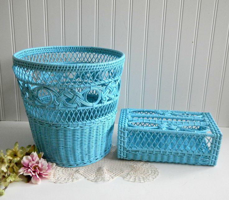 Wicker Basket Kleenex Holder Set / Up Cycle Painted / Shabby Chic / Tiffany Blue Aqua /Painted Wicker / Bath Bed Sunroom / Home Decor - mamiezvintage