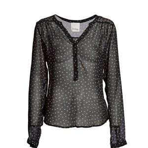 """SUST SILK Elegant Silk Shirt, small print. Beautiful and elegant shirt with long sleeves and a feminine neckline. Beautiful pattern with print on a black background on thin a flourish silk. Made from 100% silk in """"dead stock"""", which means that it's made from residues from other collections."""