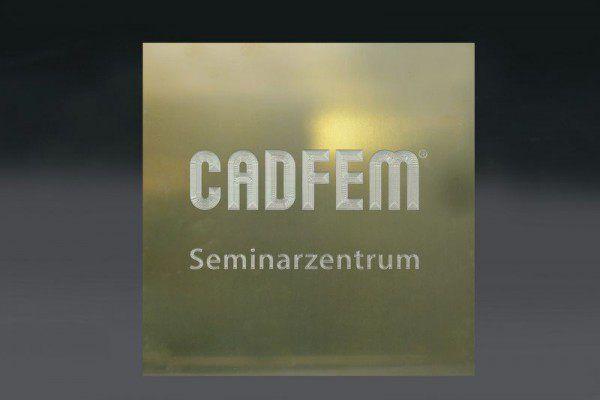 """Werbeschild """"CADFEM"""" mit Gravur"""