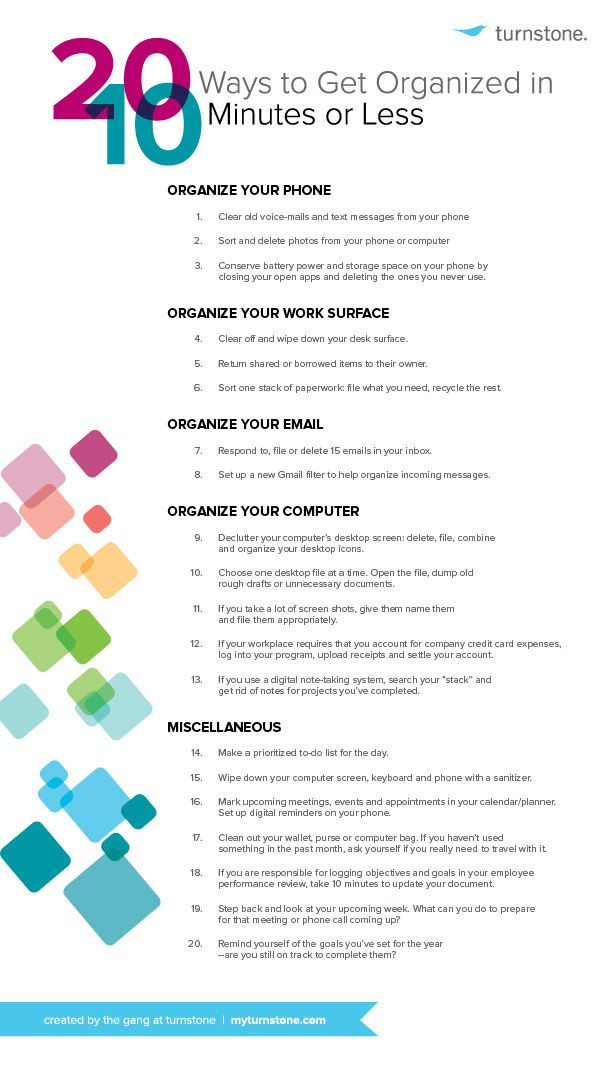20 Quick Tips to Get Organized at Work Infographic