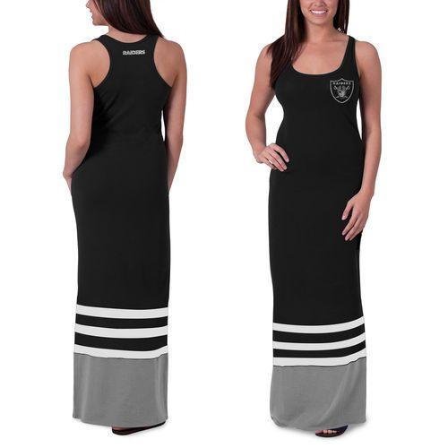Women's Oakland Raiders '47 Brand Black Replay Maxi Dress