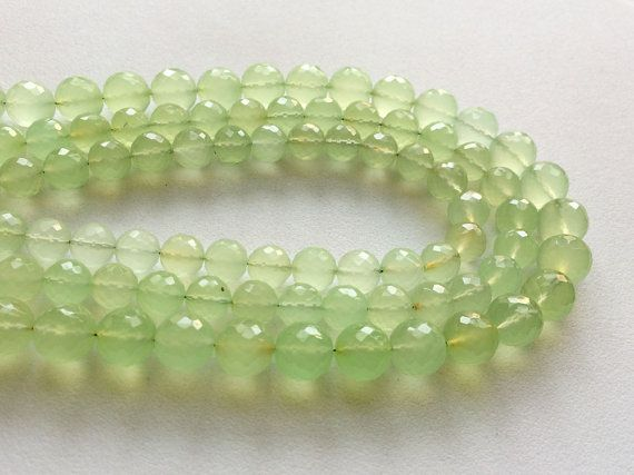 Apple Green Chalcedony Micro Faceted Round Balls by gemsforjewels