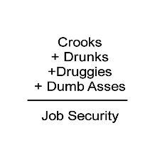 Crooks + Drunks + Druggies + Dumb Asses = Job Security..apparently also including when you work here