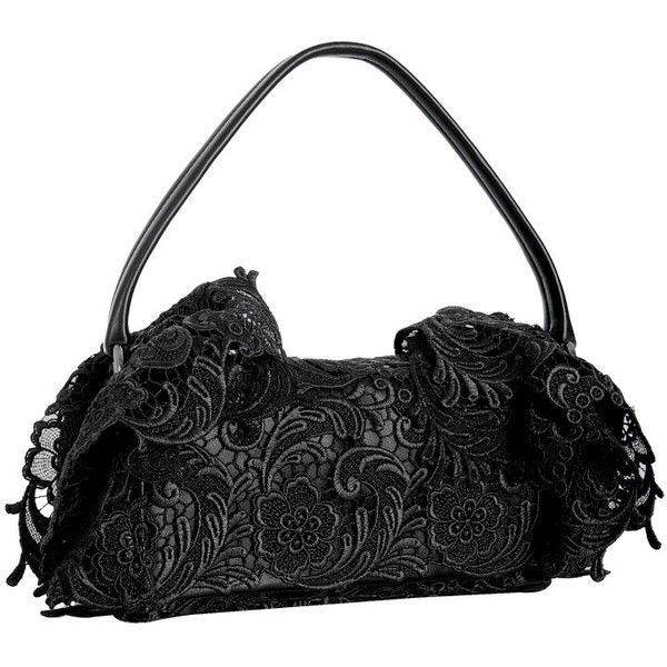 Prada black floral lace and leather flap baguette (8,535 MXN) ❤ liked on Polyvore featuring bags, handbags, purses, bolsos, prada purses, floral handbags, purse bag, prada bags and floral purse