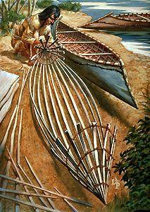 Canot d'écorce    Le canot d'écorce est le principal moyen de transport par voie d'eau pour les Indiens et les VOYAGEURS. Léger et maniable, il s'adapte très bien à la navigation estivale sur le réseau de ruisseaux, d'étangs, de lacs et de rapides du BOUCLIER canadien.