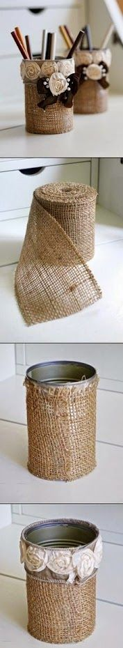 Hessian / burlap wrapped tins for cutlery holders - outdoor entertaining / bbqs.