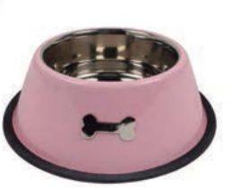Preciosos #comederos pesados para #perro. Disponible en color rosa y marrón. Ambos con un detalle de un #hueso impreso. Encuentralo en www.dogsaffaire.com