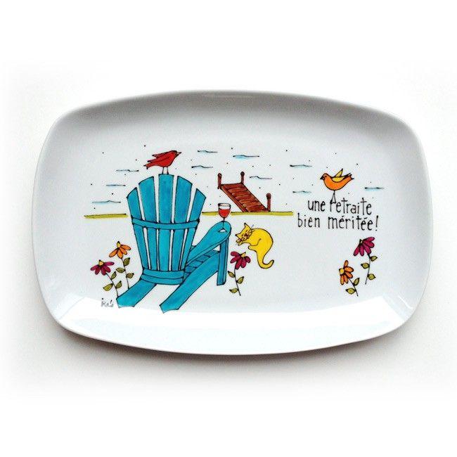 assiette décorative porcelaine - cadeau - chaise adirondack • Une retraite bien méritée ! - peint à la main par Isabelle Malo