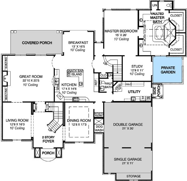 French Country Garden Design Layout: Plan 30700GD: Deluxe Master Bath