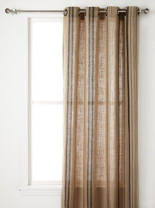 51% OFF Pure Linen Stripe Panel (Natural Black)