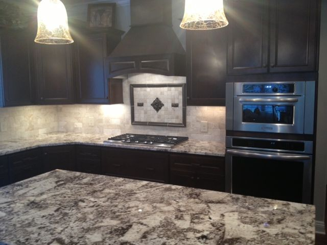 Marvelous Kitchen Cabinet   HomeCrest Cabinetry, Cherry Tuscan Java Stain, White  Alaskan Granite, By