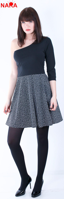 Asymmetrisches Kleid Asymmetrische shulter One Shoulder dress schwarz weiß gepunktet