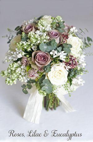 Ranunculus, gypsophila, lilac, eucalyptus - Spring Wedding Flowers Inspiration, by Jay Archer Blooms and Philippa Craddock Flowers...