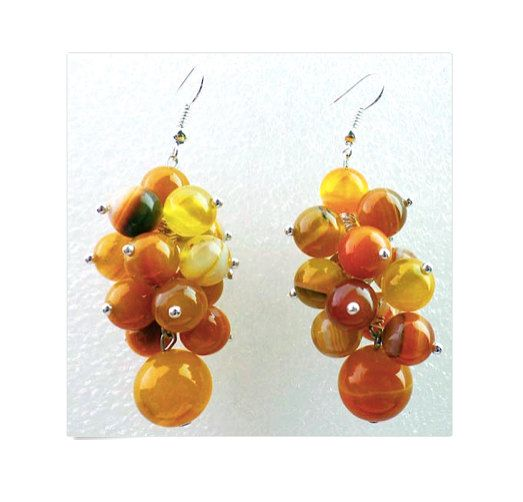 2 Colors: Blue and Caramel-Honey Onyx Banded Round Agate Hand-made Dangle Grape-Shaped Gracious Earrings!! by Ameogem on Etsy