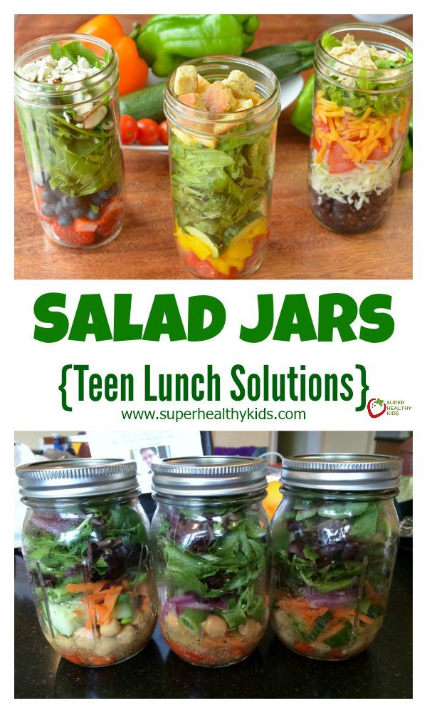 Salad Jars. Be prepared! We love this simple way to have a healthy lunch ready to eat, any time! www.superhealthykids.com/salad-jars-teen-lunch-solutions