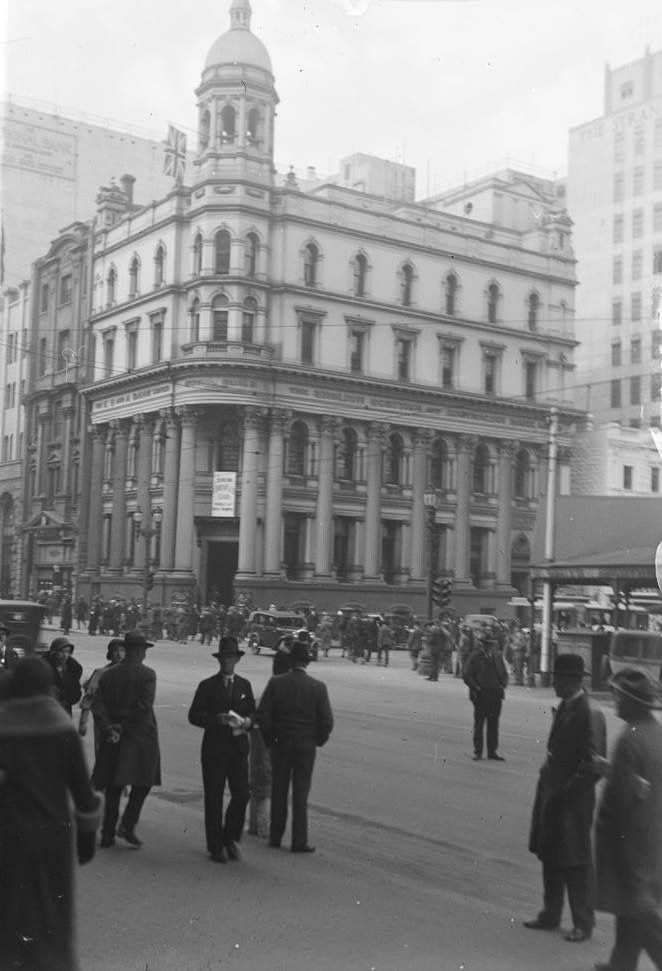 City of Melbourne Bank.  Corner Collins and Elizabeth Streets, 1930s.