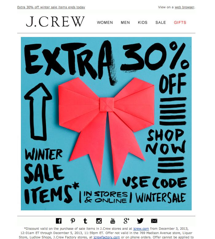 #newsletter J.Crew 12.2013 Hurry, ends today: extra 30% off winter sale items