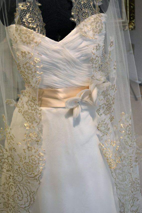Gold Lace Mantilla Veil, Cathedral Length Wedding Veils ...
