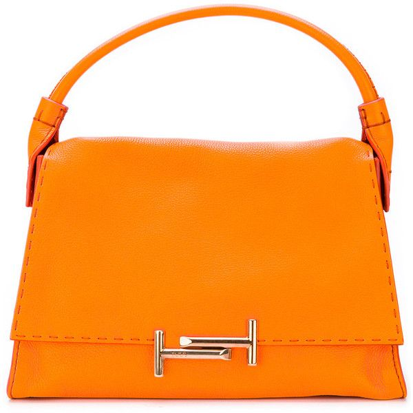 Tod's Double T tote ($1,727) ❤ liked on Polyvore featuring bags, handbags, tote bags, orange tote bag, genuine leather tote, orange purse, leather tote and leather tote bags