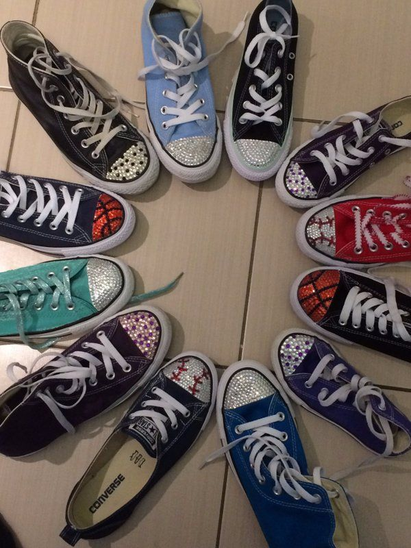 Custom Made Converse Shoes.  Converse Bling. Blinged Converse Shoes