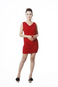 Sleeveless V Neck Slim Dress With Pleated Gathers/RED/M