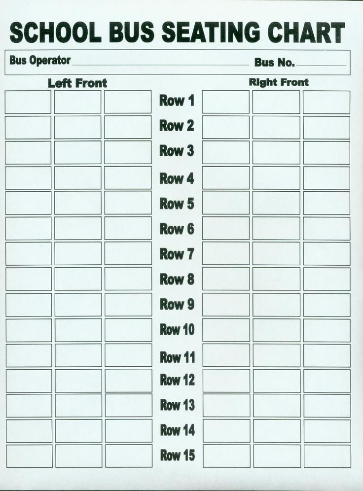 seat chart of a school bus: Seating chart for school buses iwork for school numbers 09