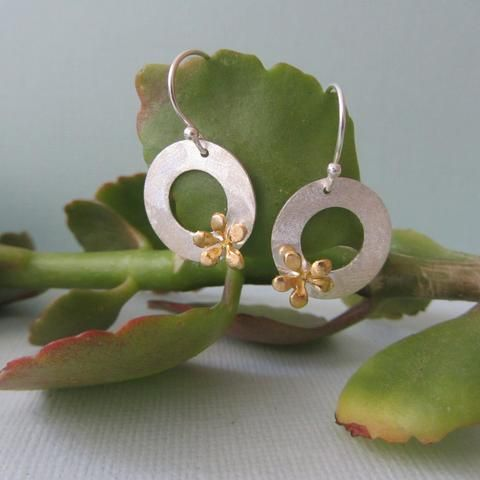 Sterling Silver & Gold Combination Floral Earrings