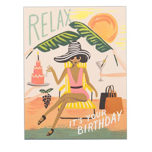 Remind your friend to take special care of themselves on their big day with this colorful illustrated birthday card. Features a lady relaxing under the sun, with palm fronds fanning her, a martini and
