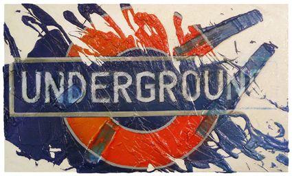 UK underground 100x60 cm tecnica mista su tela
