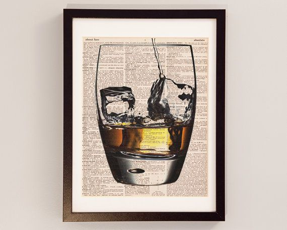 Vintage Whisky Dictionary Print - Cocktail Art - Print on Vintage Dictionary Paper - Scotch Whisky, Whiskey, Mad Men Decor - On The Rocks