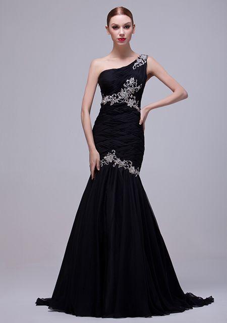 Suknia wieczorowa z trenem bez ramiączek z szyfonu zdobiona koralikami i koronką