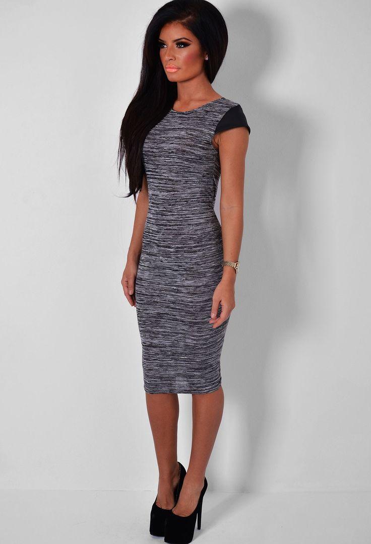Verity Grey Marl & Black PU Sleeve Midi Dress | Pink Boutique