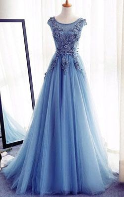 Prom Dress,Prom Gowns,A-Line Prom Dresses With Appliques,Long Tulle Prom Dresses 2017,Cheap Prom Dress, Evening Dresses,Long Prom Gowns,Formal Women Dress