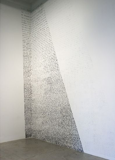 Fiona Banner: Nude Beam, 2007, Indian ink on wall, 670 x 769 cm, Installed at The Power Plant, Toronto