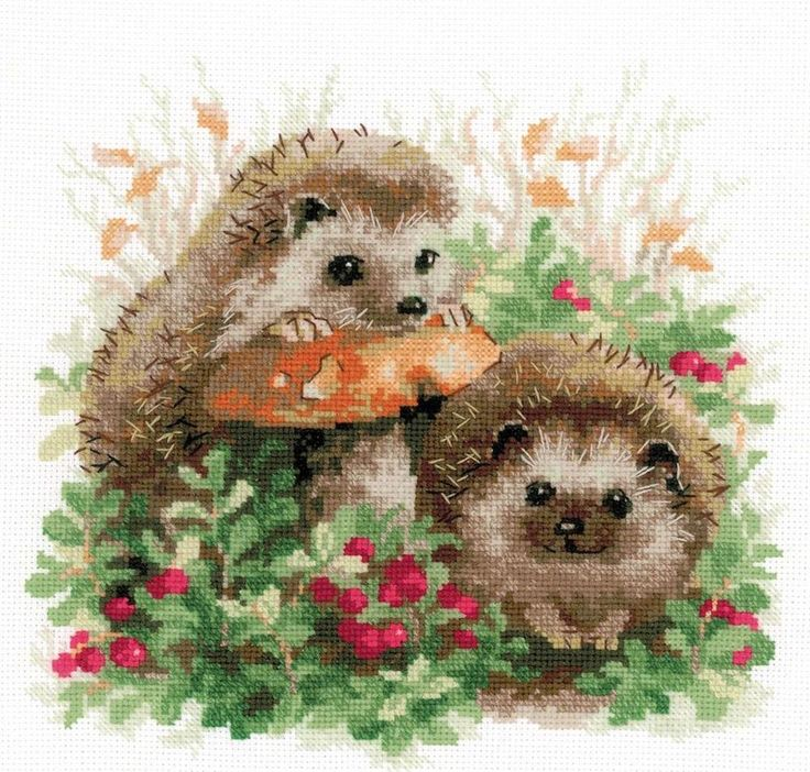 Hedgehogs in Lingonberries by Riolis, counted cross stitch kit