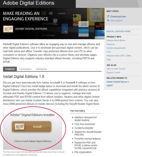 Инструкция по установке программы Adobe Digital Editions