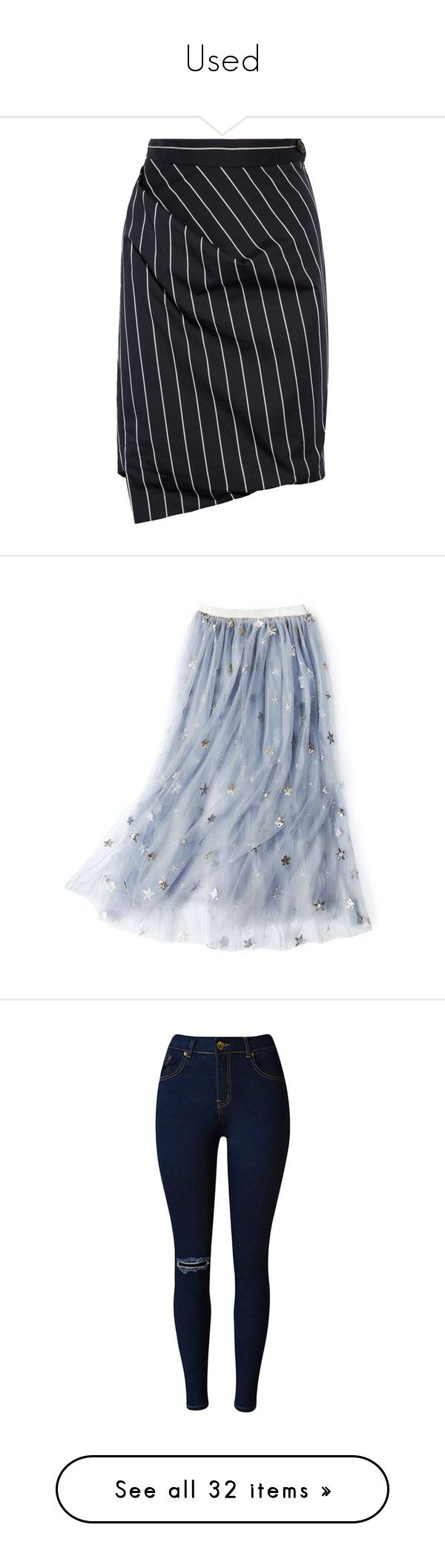 """""""Used"""" by martesaltroo on Polyvore featuring skirts, bottoms, vivienne westwood, saias, navy, blue pleated skirt, navy knee length skirt, striped pleated skirt, navy blue pleated skirt and navy striped skirt"""